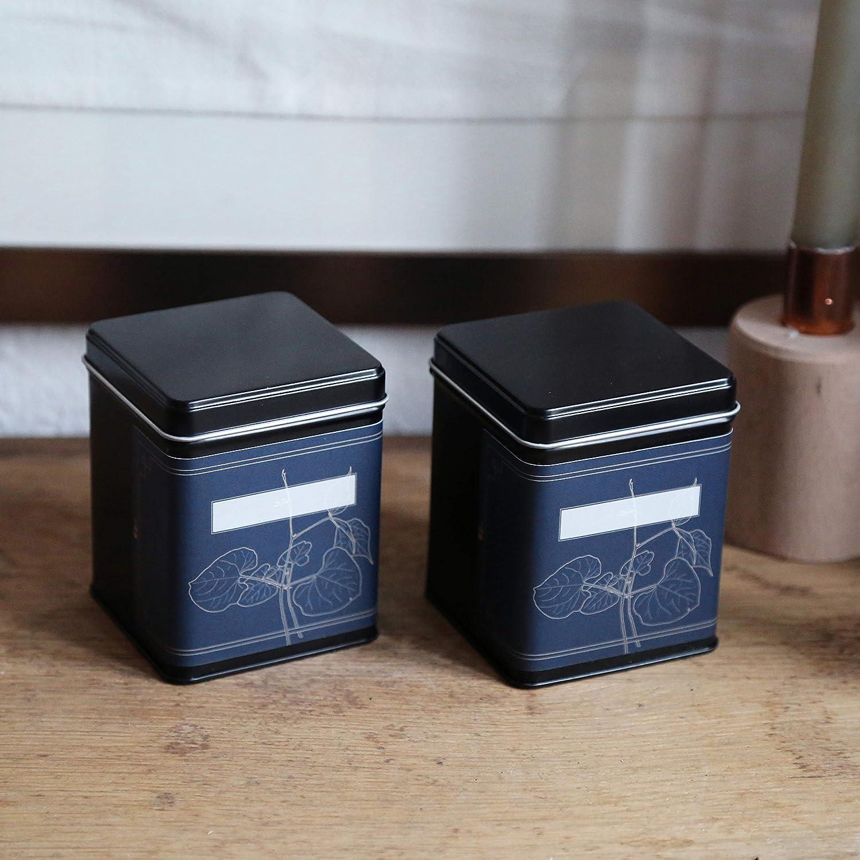 | 6 x Klassische eckige Teedose//Vorratsdose aromadicht aus Metall f/ür je 180 g 6 Etiketten zum beschriften inkl 9.8 x 7.6 x 7.6 cm | auch ideal als Mehl- H,B,T Reis- oder Keksdose stapelbar