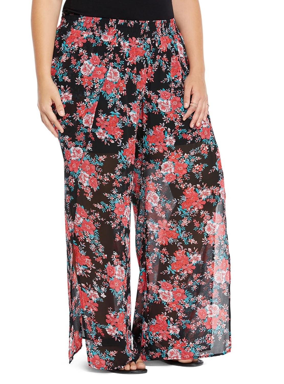 Floral Chiffon Side Slit Wide Pants