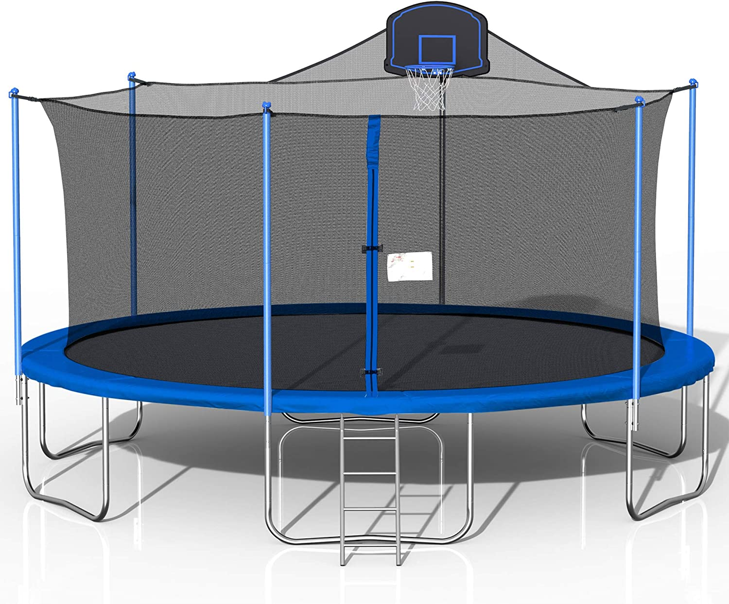 Awlstar 16ft Outdoor Trampoline For Kids And Adults With Safety Enclosure Net Basketball Hoop And Ladder Blue Sports Outdoors