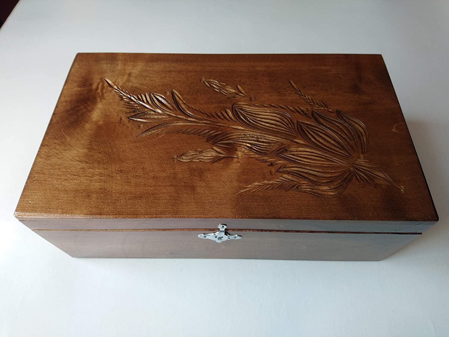 Big huge chocolate brown carved storage box chest special handcarved wooden jewelry money case gift coffe tea box