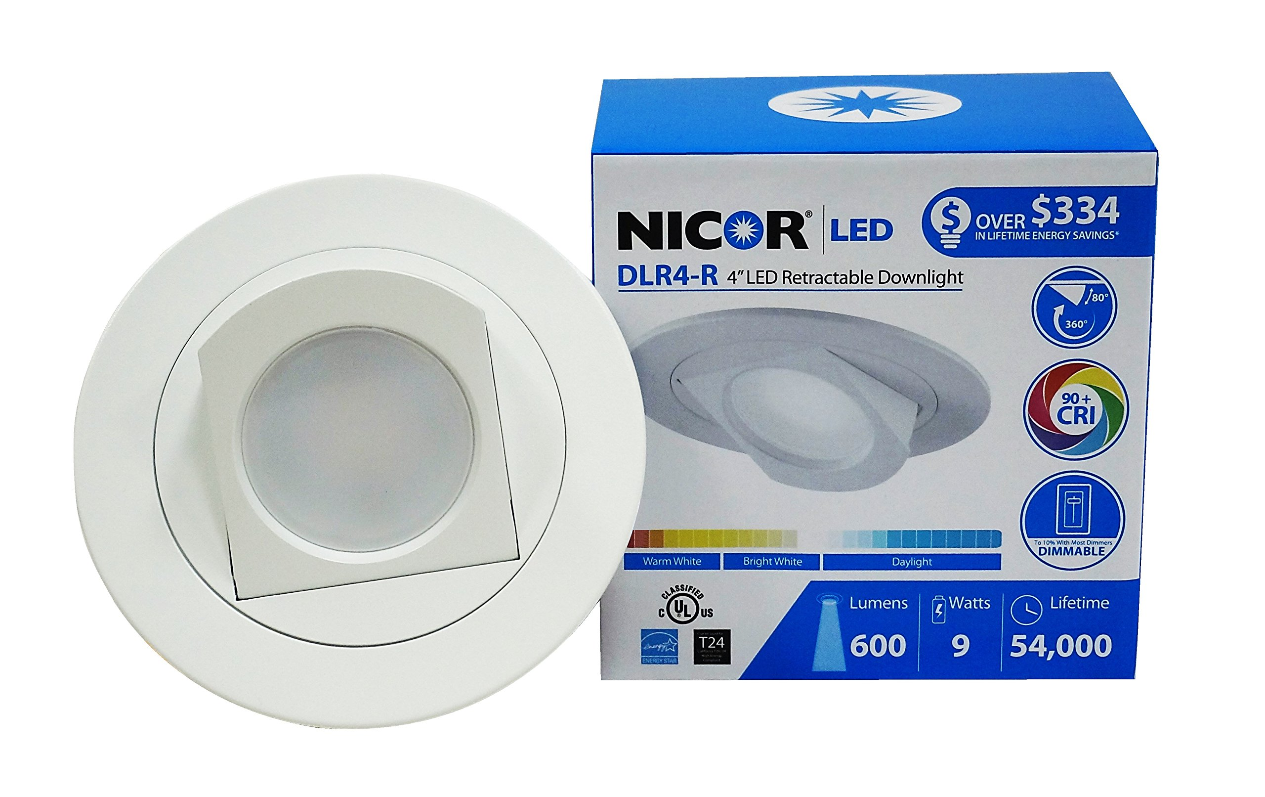 NICOR Lighting 4-Inch Dimmable 2700K LED Adjustable Retractable Downlight Retrofit Kit for Recessed Housings, White Trim (DLR4-R-10-120-2K-WH)