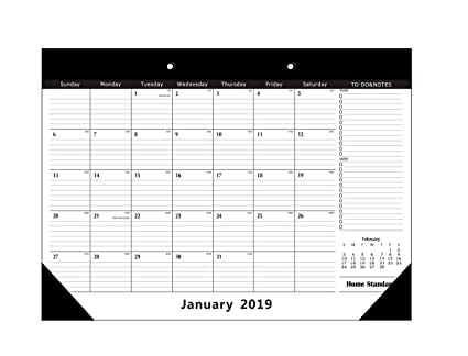 Home Standard 2019 Desk Calendar with Leather Corner Protector, 11 5 X 17,  January 2019 - December 2019