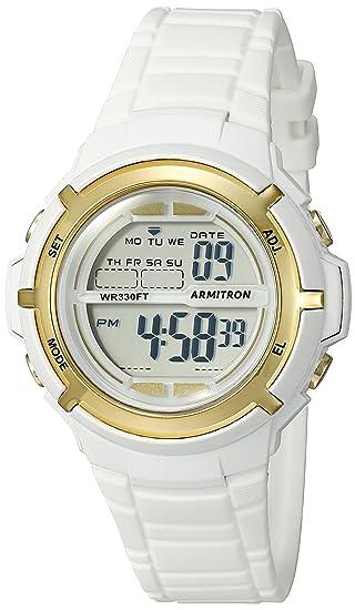Armitron Sport 45/7045wtgd tono dorado de la mujer digital reloj con banda blanca: Amazon.es: Relojes