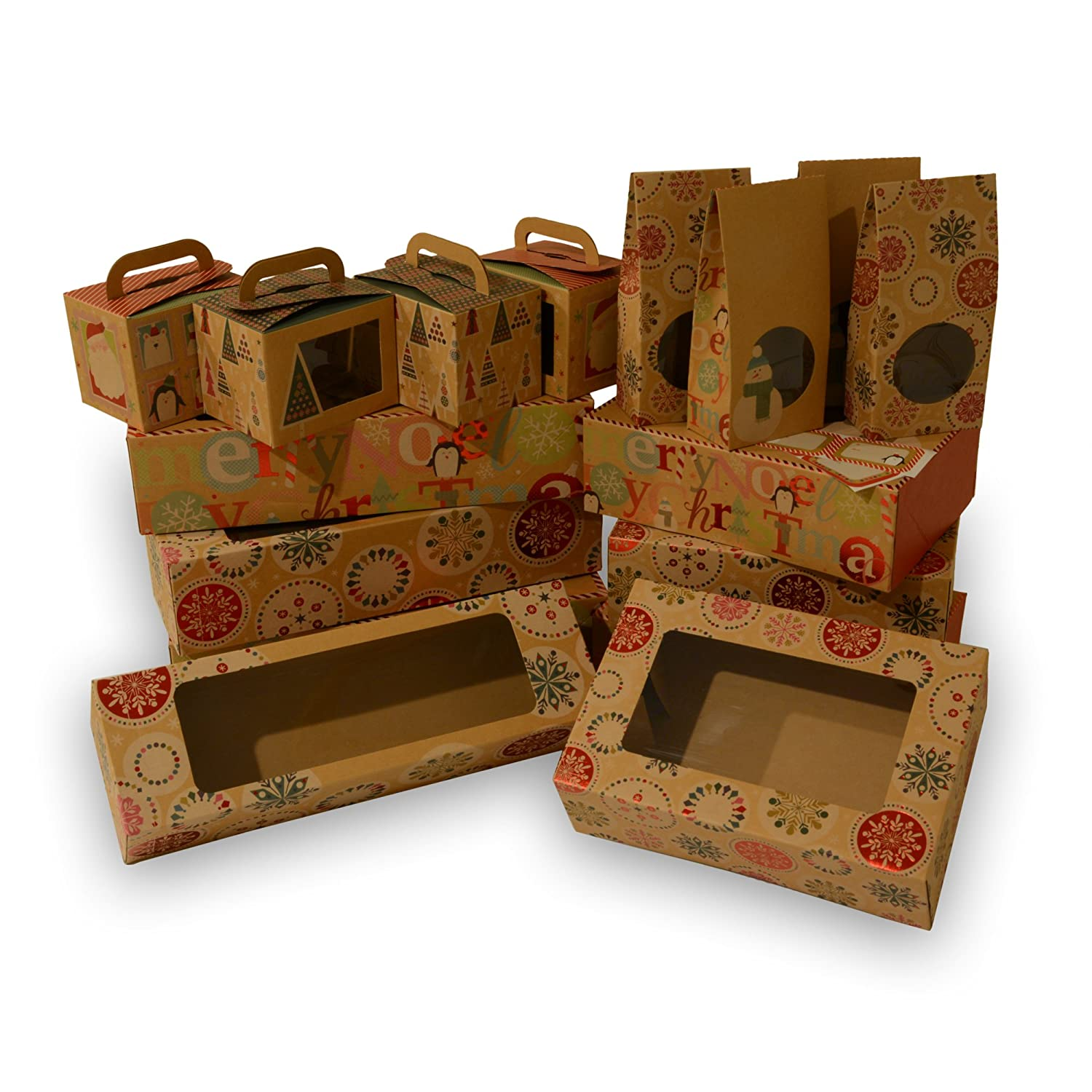 Christmas Cookies Box.Christmas Cookie Box Bakery Set Brown Kraft With Christmas Designs 4 Cupcake Boxes 4 Doughnut Boxes