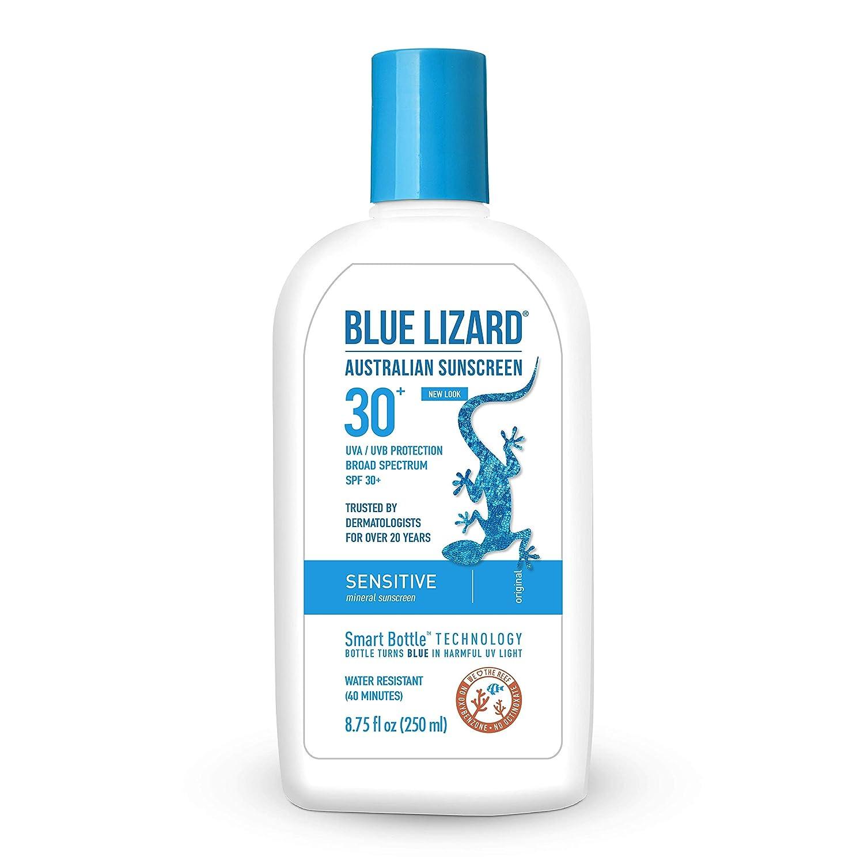 Blue Lizard Sensitive Mineral Sunscreen – No Chemical Actives – SPF 30+ UVA/UVB Protection, 8.75 oz