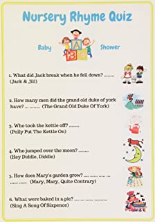 Wonderful Baby Shower Games Nursery Rhyme Quiz. Unisex, Pack Of 10 Cards.