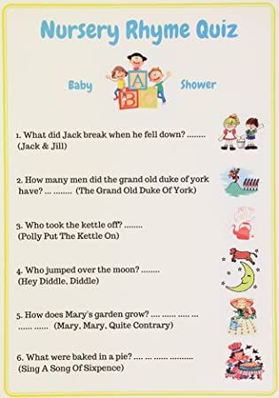 Baby Shower Games Nursery Rhyme Quiz Unisex Pack Of 10 Cards