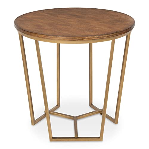 Kate and Laurel Solvay Round Wood and Metal Side Accent Table, Walnut and Gold Finish