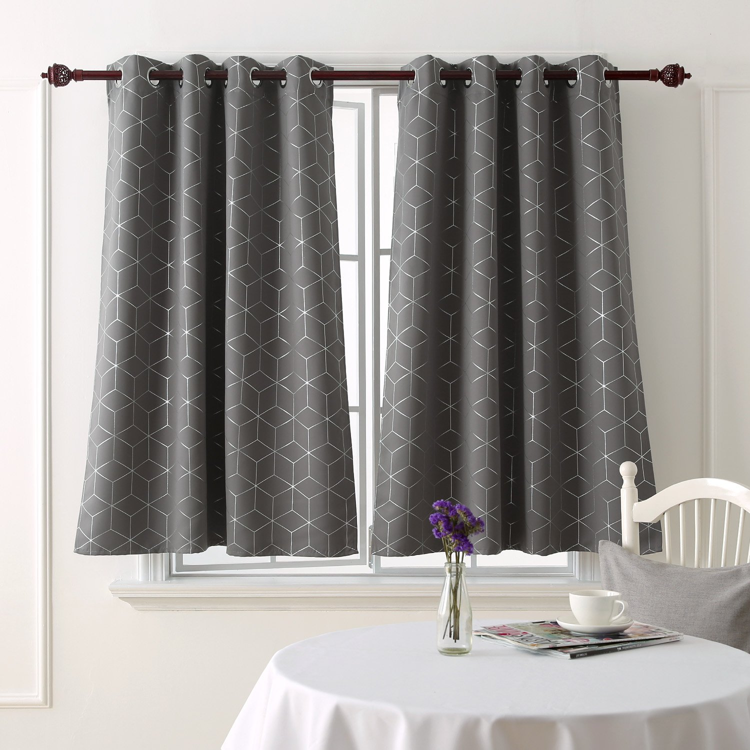 Deconovo Sliver Diamond Foil Print Blackout Curtains Room Darkening Thermal Insulated Curtain Panels Grommet for Living Room Light Grey 52x63 Inch 2 Panels