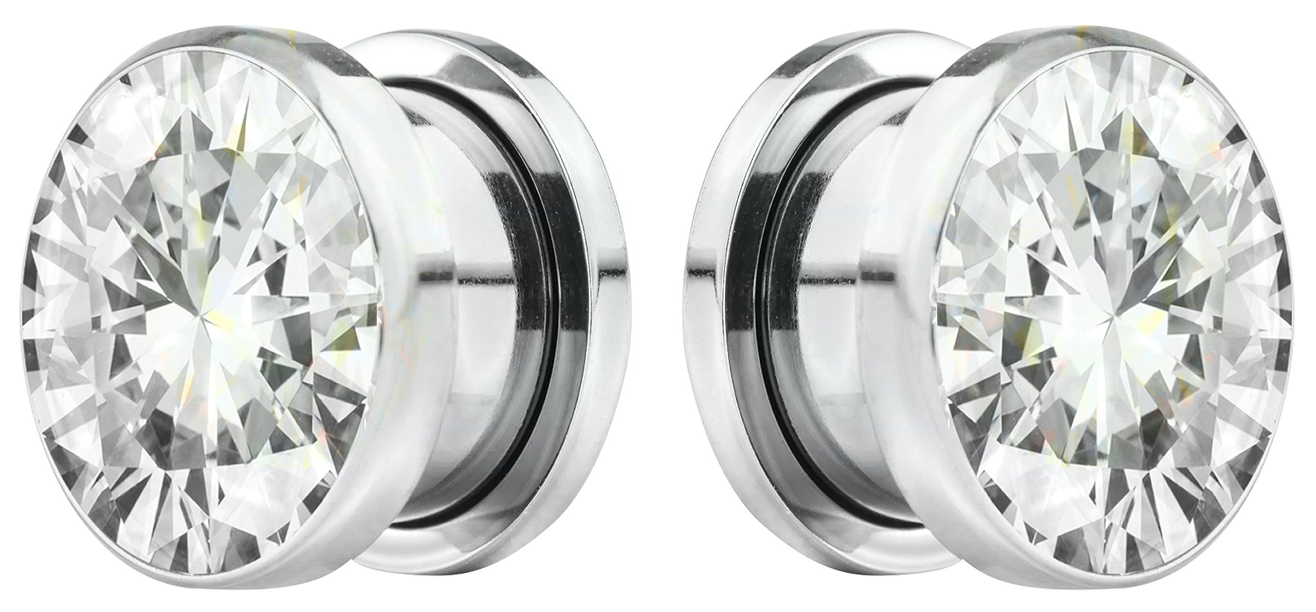 Forbidden Body Jewelry 22mm (7/8 Inch) Surgical Steel Screw Fit CZ Center Tunnel Plug Earrings (2pcs)