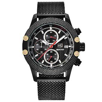 f282f28e199 BENYAR Men s Sports Military Watches Chronograph Calendar 3 ATM Waterproof  Japanese Quartz Mesh Band Wrist Watch for Men  Amazon.co.uk  Watches
