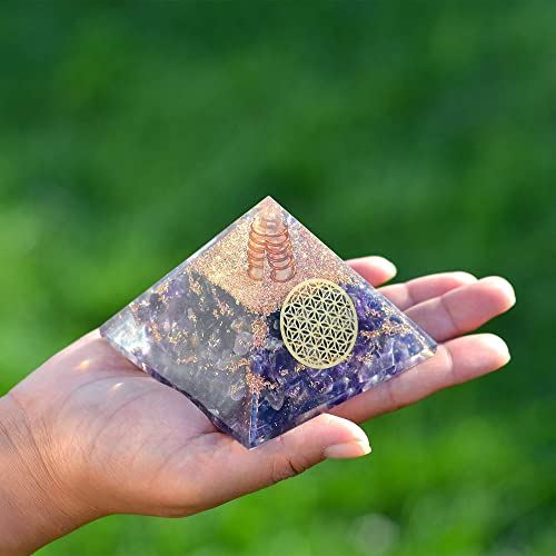 Orgonite Crystal Amethyst Flower of Life Orgone Pyramid All-Healer Crystals to Soothe you Mind and Emotion