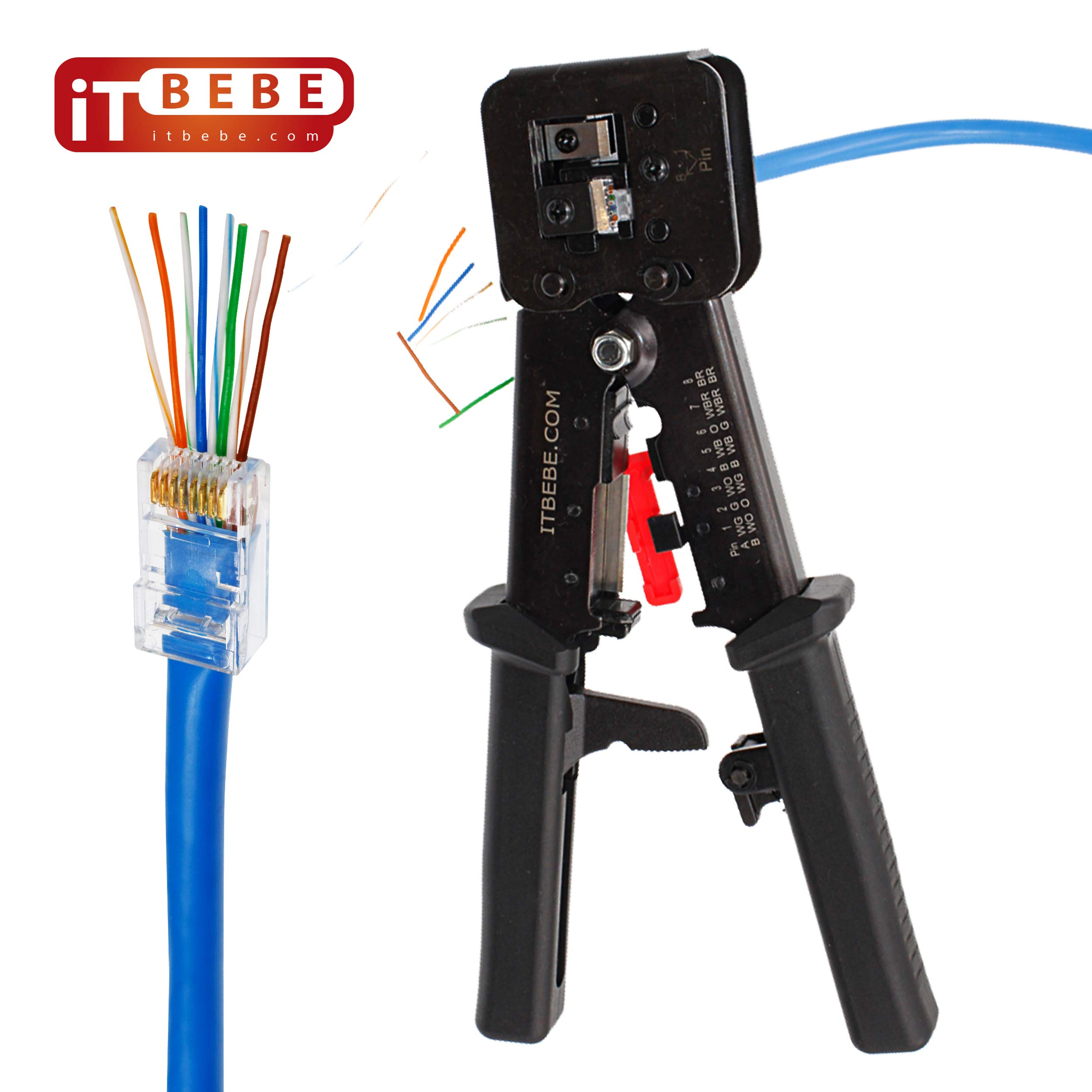 ITBEBE RJ45 Crimping Tool Made of Hardened Steel with Wire Cutter Stripping Blades and Black Textured Grips by itbebe.com (Image #1)