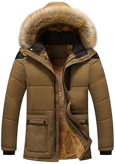 Chouyatou Men's Winter Removable Hooded Frost Fighter Sherpa Lined Midi Packable Parka Jackets by Chouyatou