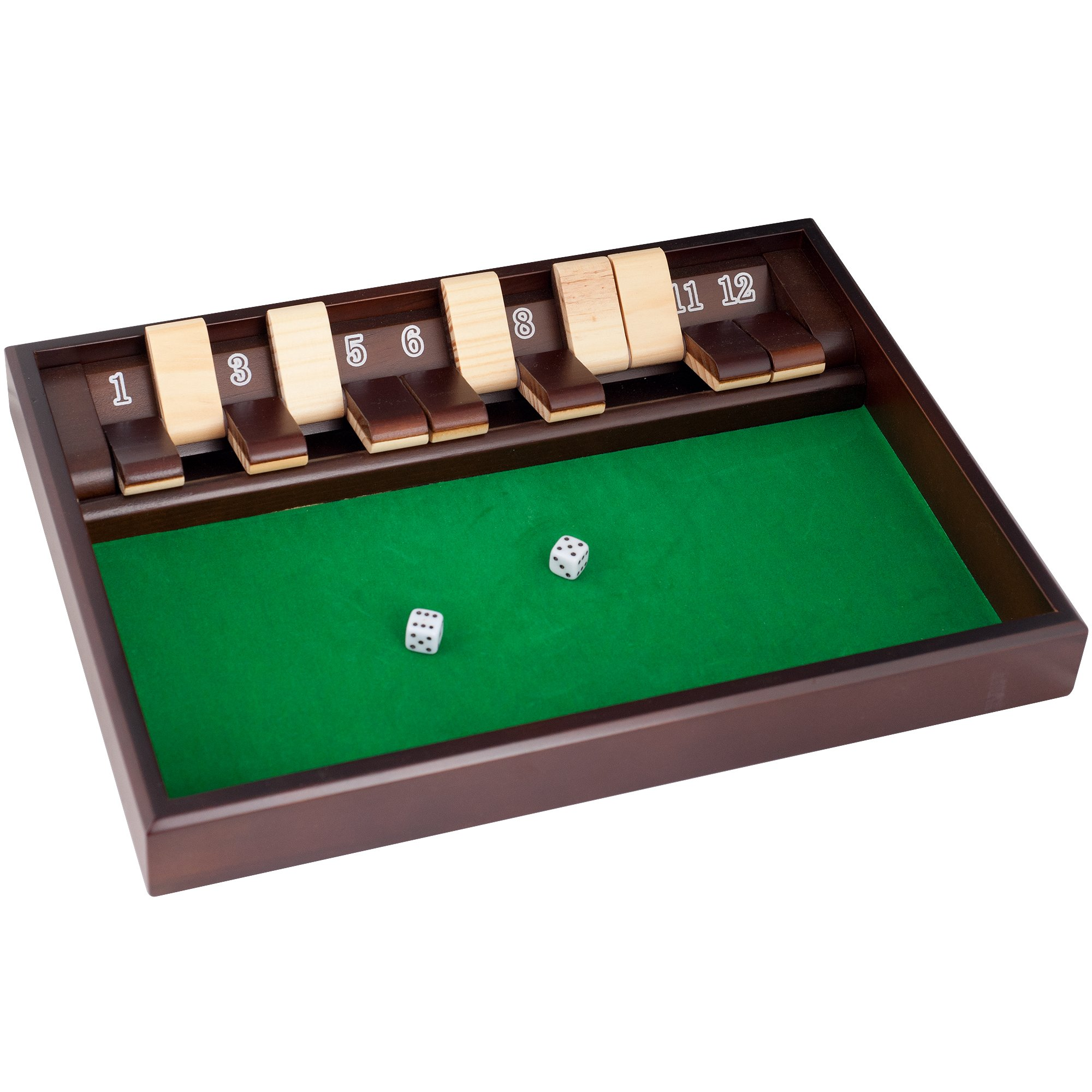 Trademark Games Shut The Box Game - 12 Numbers (Includes Dice)