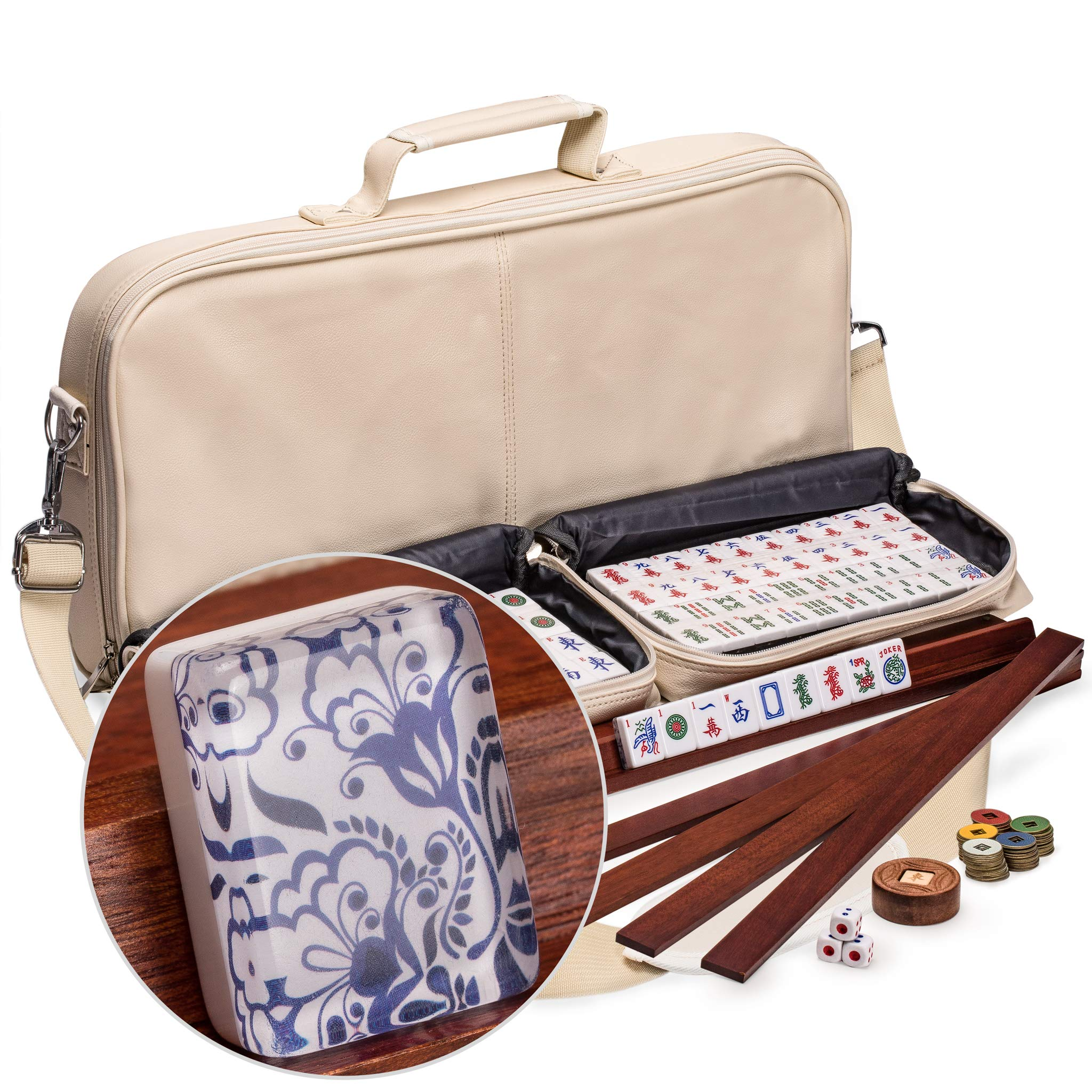 Yellow Mountain Imports American Mahjong Set, Chinoise with 166 Tiles, 4 All-in-One Racks with Pushers, Accessories, and Soft Leatherette Case
