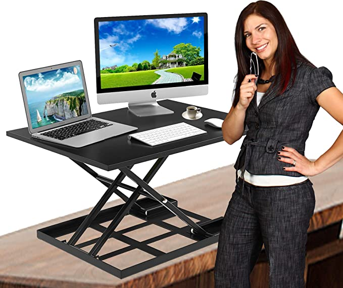 Standing Desk Stand Up Desk Height Adjustable Desk Standing Desk Converter Sit Stand Desk Converter Foldable Desk Adjustable Height Desk Folding Workstation Desk Riser Ergonomic Table Stand 32 Inch Office Products Amazon Com