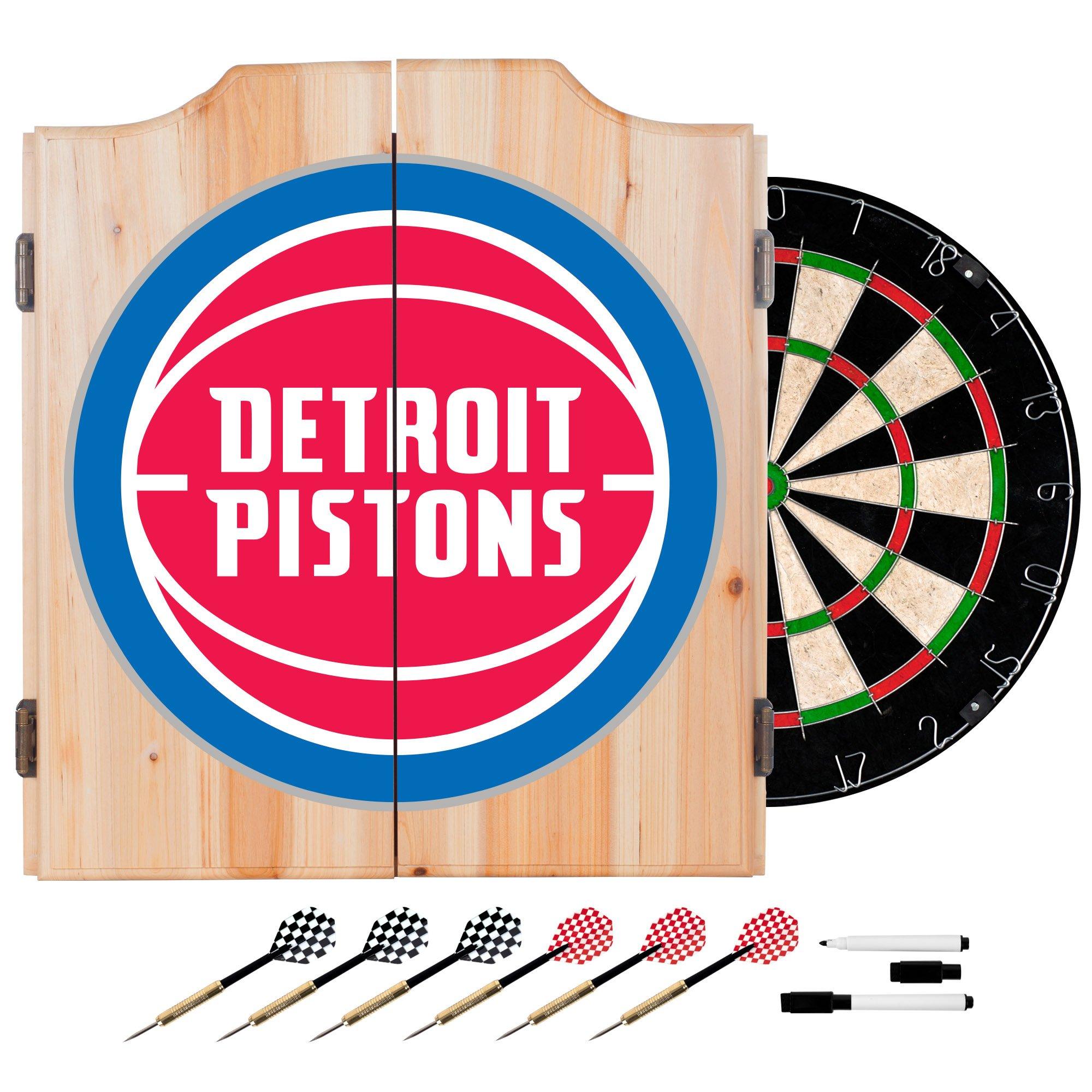 NBA Detroit Pistons Wood Dart Cabinet Set by Trademark Games
