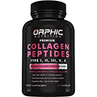 Premium Collagen Peptides Capsules 1500mg - Types I, II, III, V, X - Promotes Hair...
