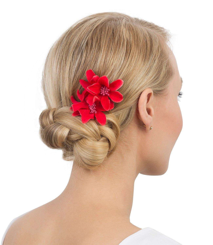 SIX 2er Set Haarspangen mit roten Stoff Blüten, Blumen, tropisch (488-126)