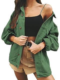 2ce803b63b02 Eliacher Women s Boyfriend Denim Jacket Long Sleeve Loose Jean Jacket Coats