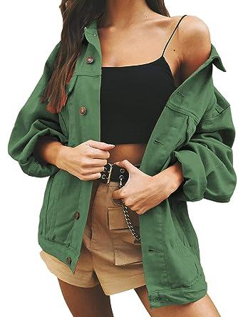 d49f58e9de Eliacher Women s Boyfriend Denim Jacket Long Sleeve Loose Jean Jacket Coats  (S