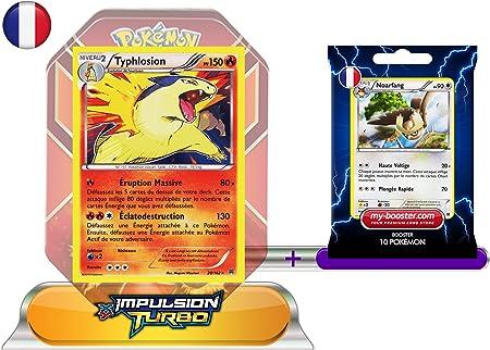 Pokémon XY08 Impulsion Turbo - Caja de Blaziken y sobre con 10 cartas de Pokémon (incluye una carta holográfica de Typhlosion, 20/162, 150 PV y una carta de Noctowl, 120/162, 90 PV) [