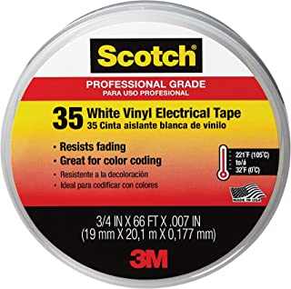 product image for Scotch #35 Electrical Tape, 10828-DL-2W, 0.75 in x 66 ft x 7 mil, White