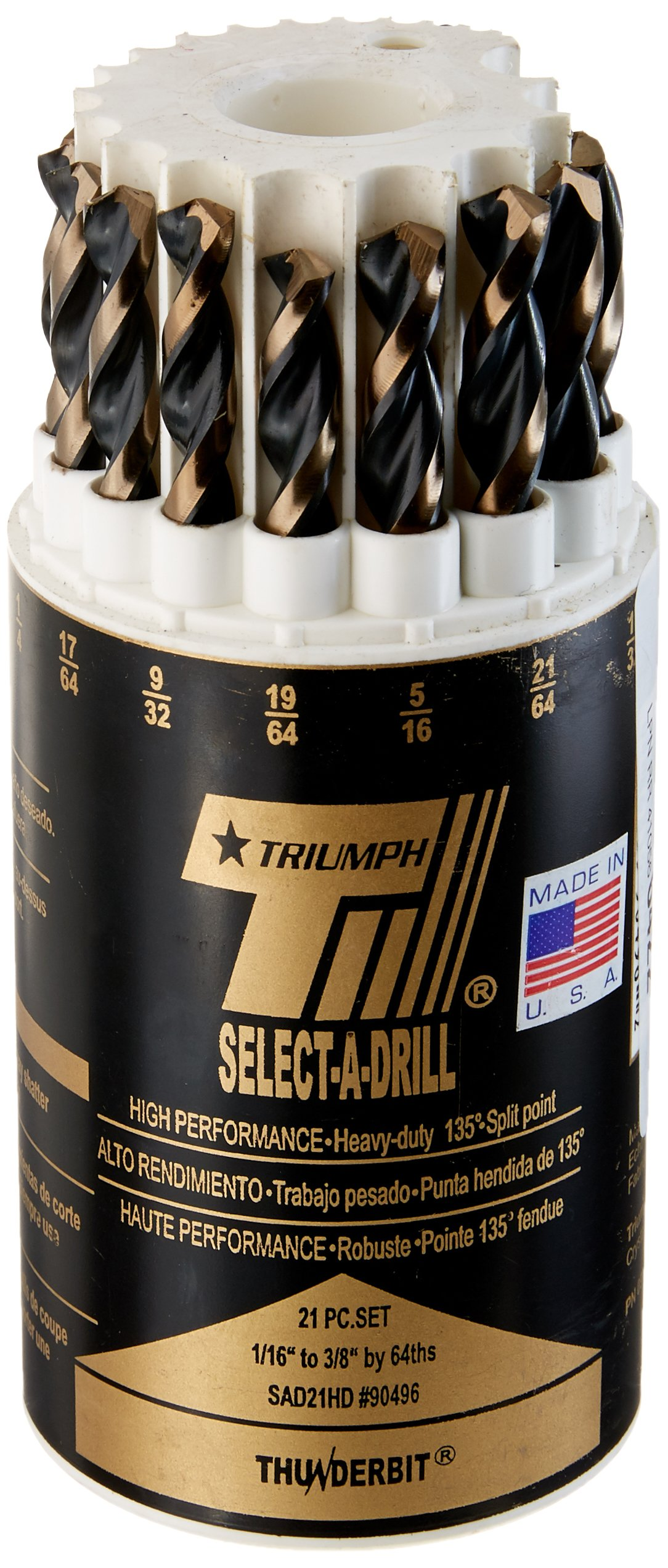 Triumph Twist Drill Co. 090496 SAD21HD Size Ranger 1/16-Inch-3/8-Inch by 64ths High Speed Steel Drill Set, Black and Bronze Oxide Coated, 1-Pack