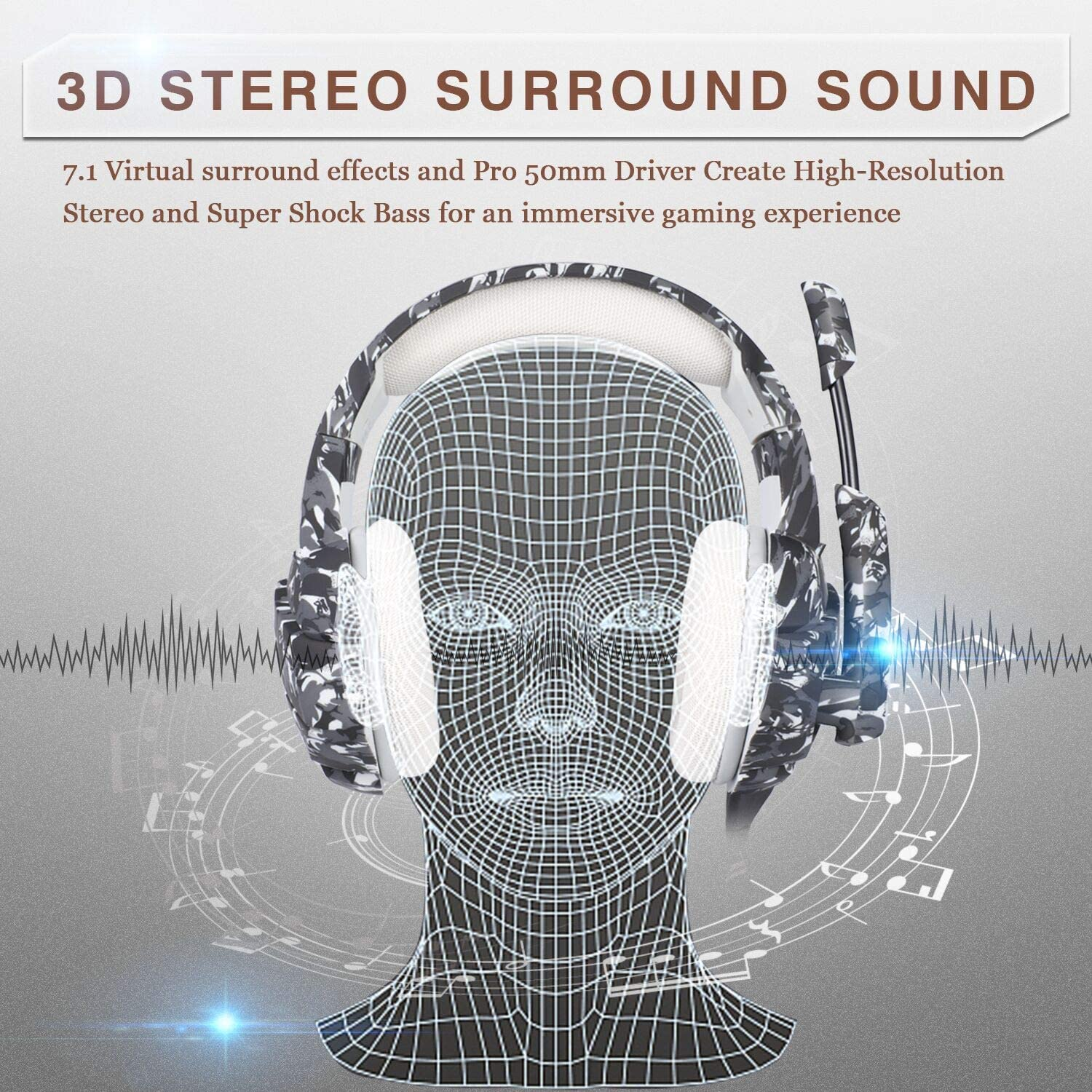 Alician ONIKUMA K1 Stereo Bass Surround PC Gaming Headset for PS4 New Xbox One with Mic Camouflage Black