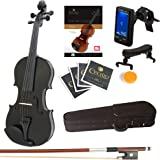 Mendini 4/4 MV-Black Solid Wood Violin with Tuner, Lesson Book, Shoulder Rest, Extra Strings, Bow and Case, Metallic Black Fu