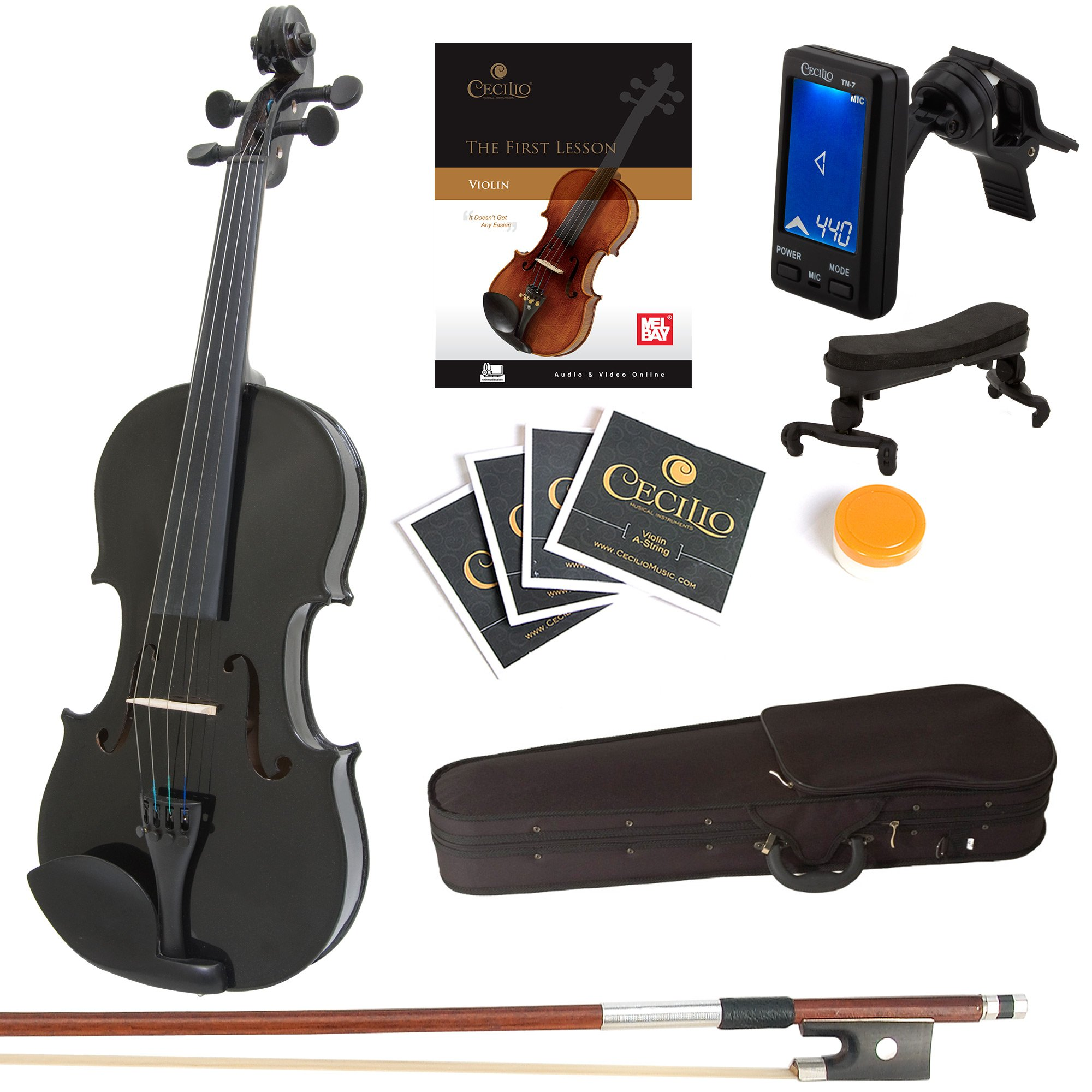 Mendini 4/4 MV-Black Solid Wood Violin with Tuner, Lesson Book, Shoulder Rest, Extra Strings, Bow and Case, Metallic Black Full Size by Mendini by Cecilio (Image #1)