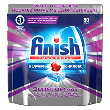 Finish Dishwasher Detergent Soap, Quantum Max, Shine And Glass Protect,  Fresh, Mega