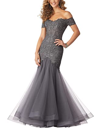 85318fd4e9e MythLove Women s Formal Dress Prom Gown Off The Shoulder Tulle Lace Long  Trumpet Illusion Special Occasion