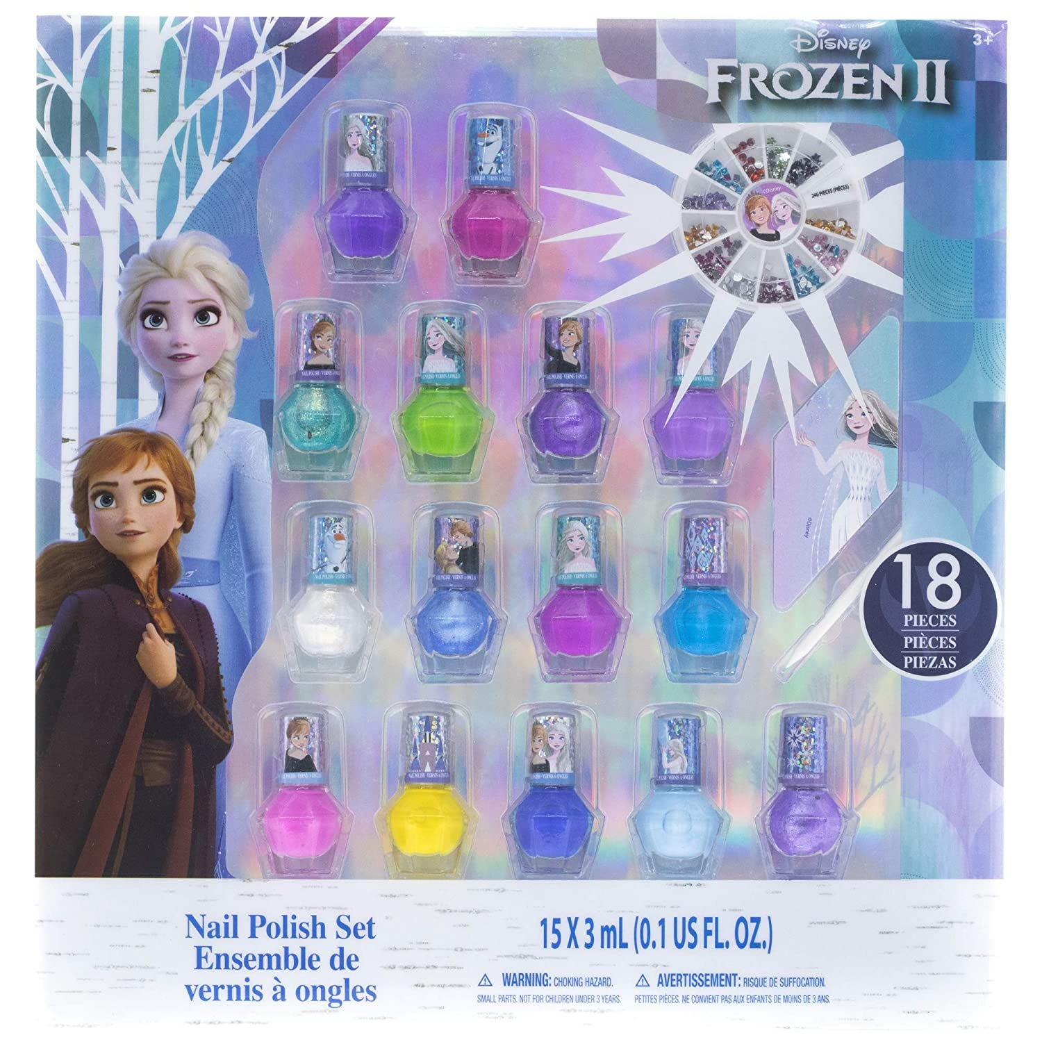 Townley Girl Frozen 2 Non-Toxic Peel-Off Nail Polish Set for Girls, Glittery and Opaque Colors, with Nail Gems, Ages 3+, for Parties, Sleepovers and Makeovers, 18 Pcs
