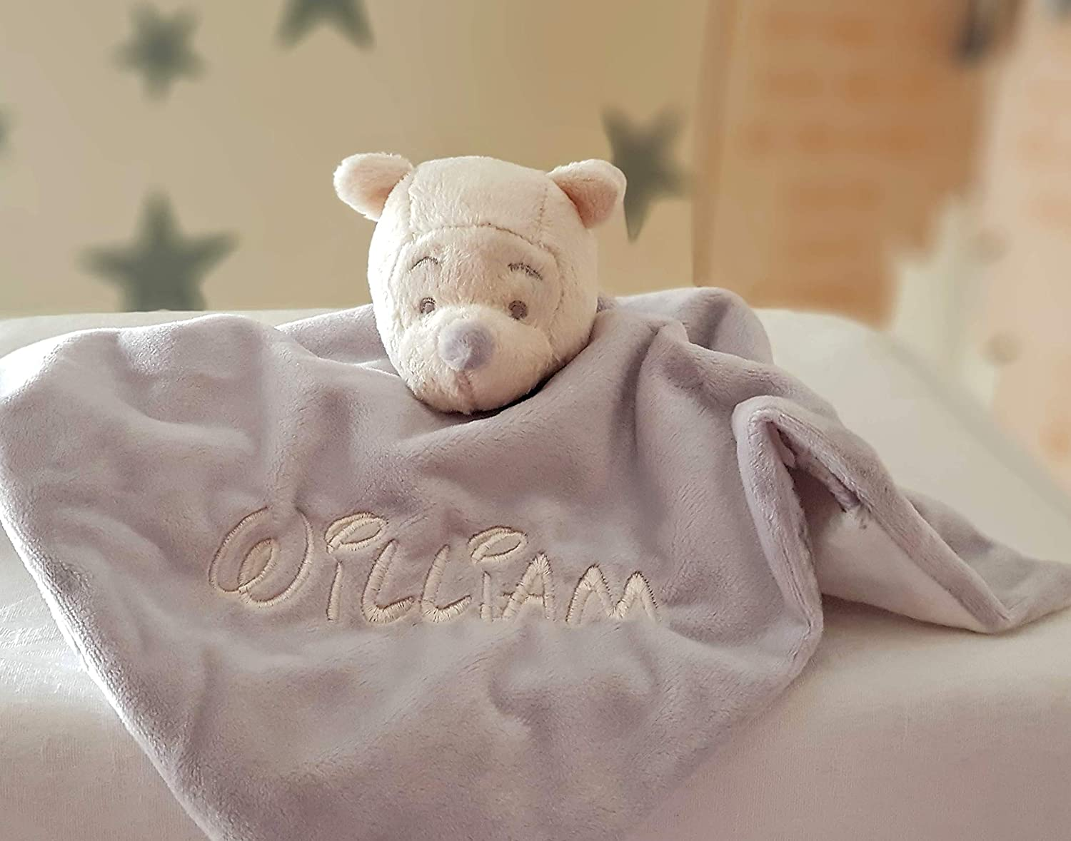 Personalised Disney Grey Winnie The Pooh Baby Comforter / Baby Blanket / Soother Blanket / New Baby Gift