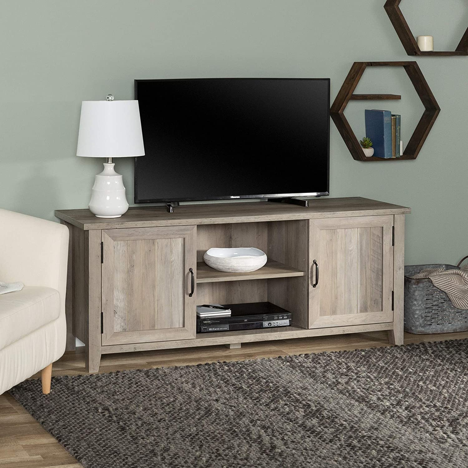 Walker Edison Modern Farmhouse Grooved Wood Stand with Cabinet Doors for TV's up to 65