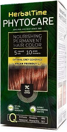 Phytocare Tinte permanente y nutritivo para cabello sin amoniaco, sin PPD, sin SLS, sin parabenos Color Cobre Cálido 7C