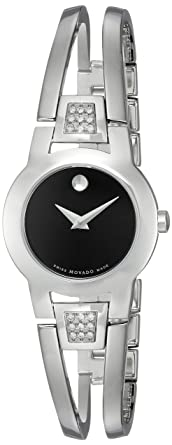 8112953a89d Movado Women s 604982 Amorosa Diamond-Accented Stainless Steel Bangle Watch