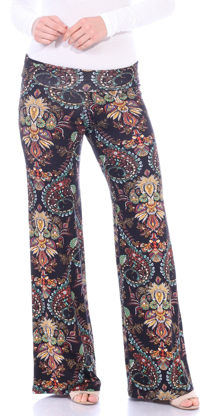 Popana Women's Casual Wide Leg Boho Flare Floral Print Palazzo Pants Made In USA X-Large ST02 Boho Paisley