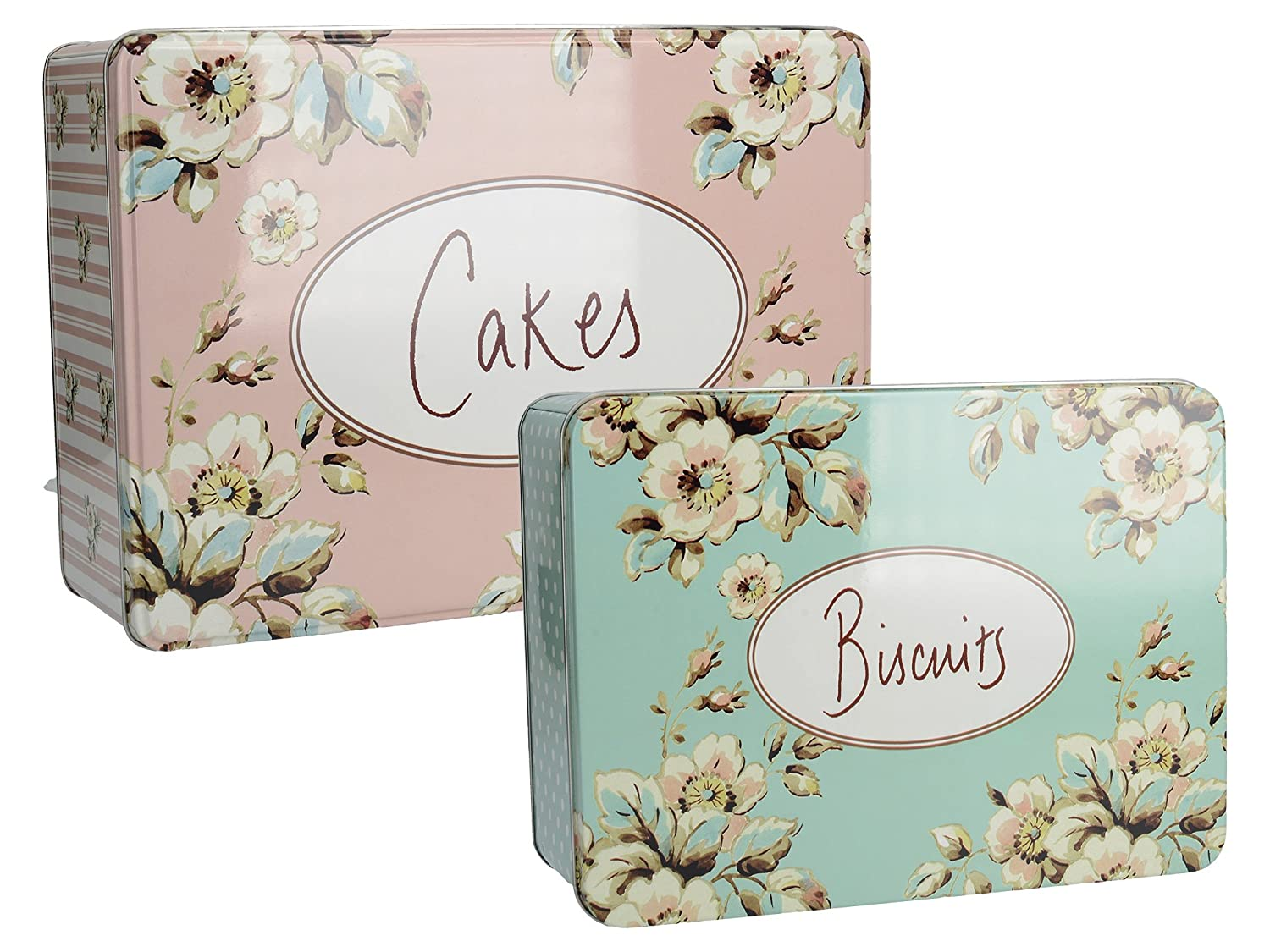 Creative Tops Set Of 2 Katie Alice Cottage Flower Shabby Chic Cake & Biscuit Tins TIN2466RECT