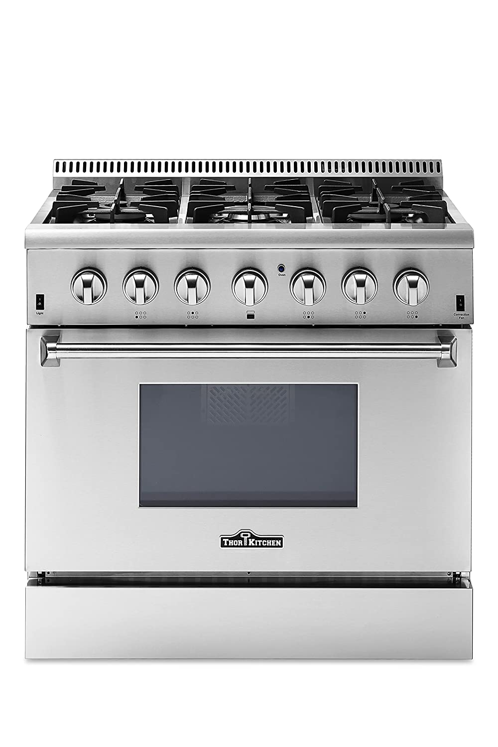 "Thor Kitchen 36"" - 5.2 cu. ft Dual Fuel Range - Freestanding Electric Oven with 6 Burners Gas Range and Convection Blower Fan - Stainless Steel - HRD3606U-1 (Without LP Conversion Kit)"