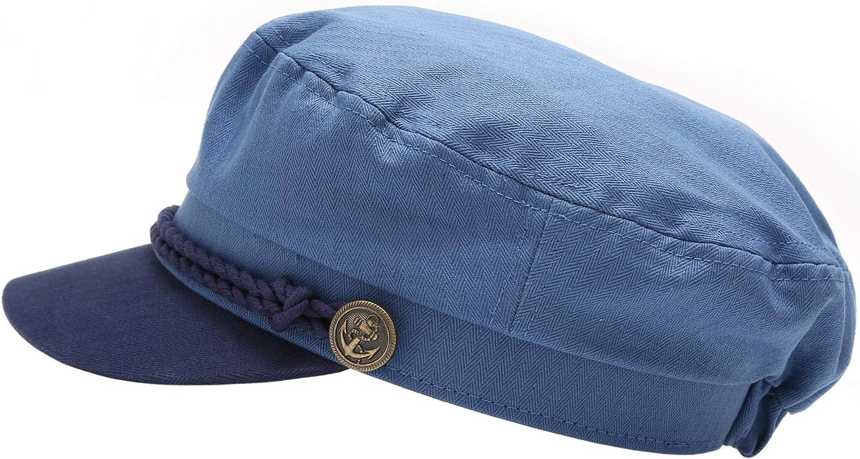 MIRMARU Womens 100/% Cotton Mariner Style Greek Fishermans Sailor Newsboy Hats with Comfort Elastic Back