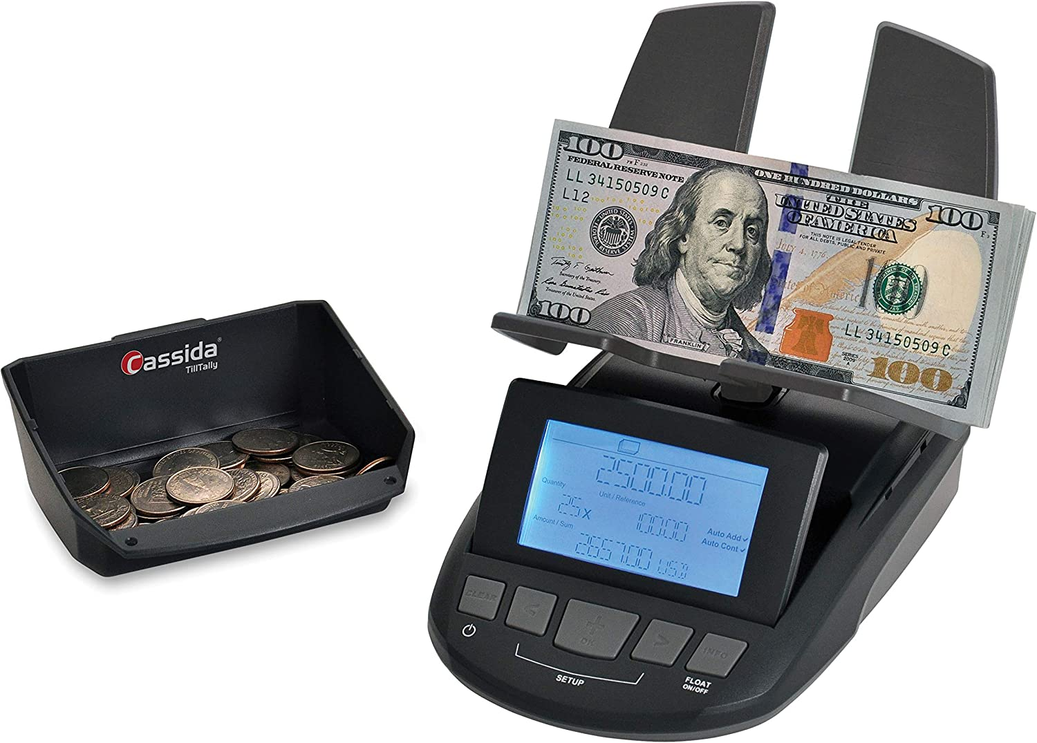 Cassida Till Tally Professional & Portable Money Counting Scale Coin, Rolls  & Bill Counter with Value Count, Float Function, Printing Capabilities and
