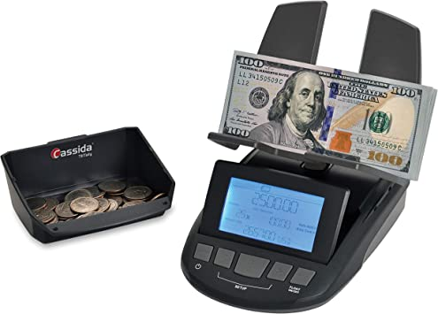 Amazon Com Cassida Till Tally Professional Portable Money Counting Scale Coin Rolls Bill Counter With Value Count Float Function Printing Capabilities And Optional Batteries Aaa Office Products