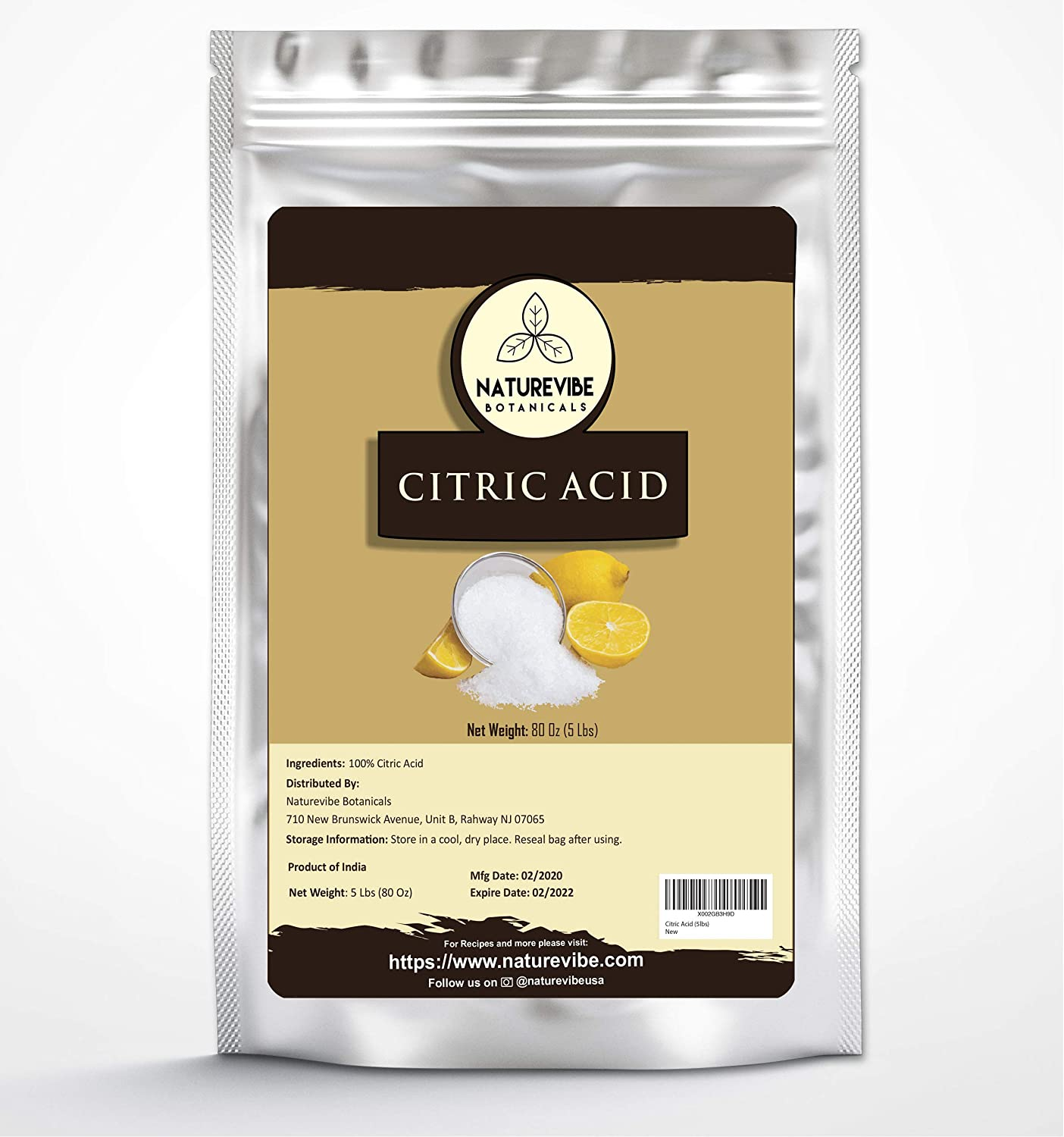 Naturevibe Botanicals Citric Acid, 5lbs | Non-GMO and Gluten Free | 100% Natural | Food Grade | Flavouring agent | Natural Enhancer (80 ounces)