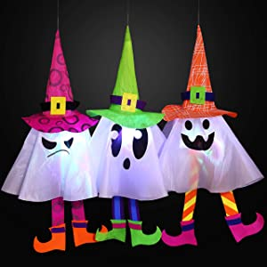 JOYIN 3 Packs Halloween Outdoor Ghost LED Light up Lantern Party Decor for Halloween, Outdoor Decoration, Halloween-Themed Party Decorations