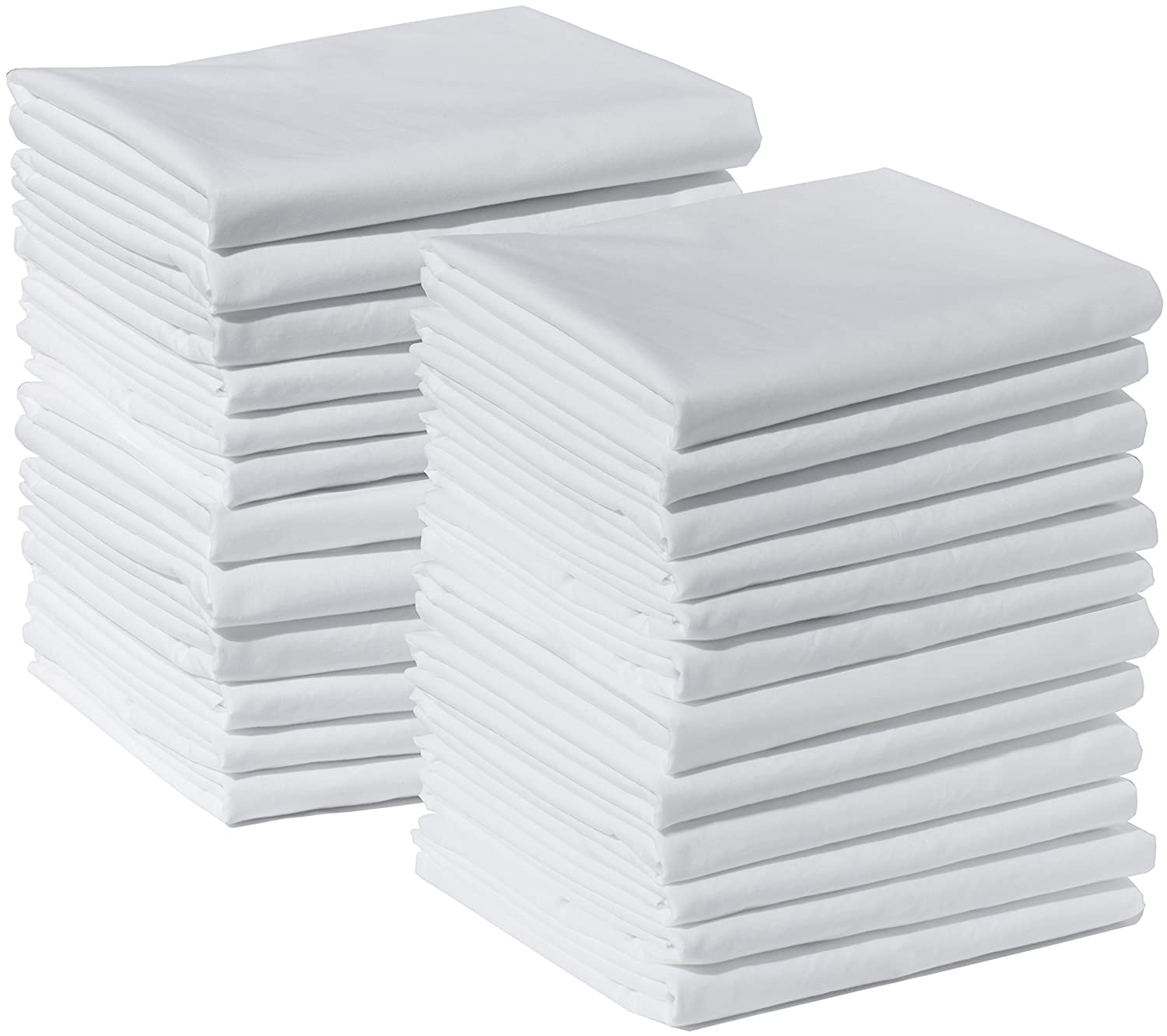Polycotton Bulk Pack of 24 Standard Size Pillowcases, White 200 Thread Count, 21x30 White (Fits 20 X26 pillow), 2 Dozen, Perfect for Physical Therapy Clinics, Hotels, Camps American Pillowcase FBA_B00DKKKP3Y
