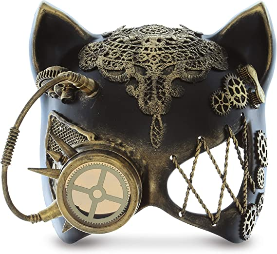 Steampunk Gold Cat Mask Masquerade Halloween Costume Eye Face Gears Goggles