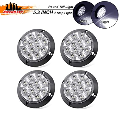 Meerkatt (Pack of 4) 4 Inch White LED Side Marker Trailer Tail Light Multi-Function Reverse Backup 12 Diodes Exterior Lamp Universal 4WD Truck Coach Car Forklift Bus Camper RV 12V DC Power Saving GK12: Automotive